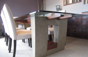 Glass dining table detail